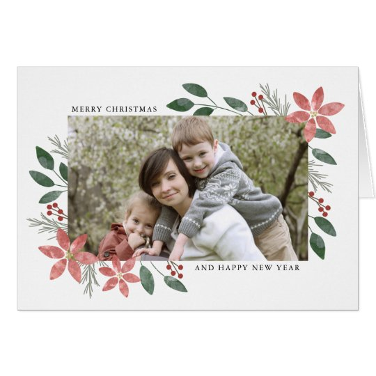 Floral Holiday - Christmas Photo Greeting Card