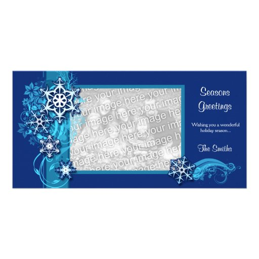 Floral Holiday Snowflake Photo Card in Blue