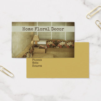 Floral Home Interior Designer Decor Furnishings Business Card