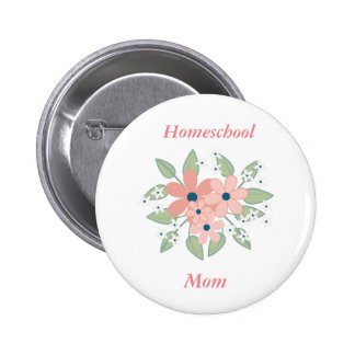 Floral Homeschool Pink and Green Floral 2 Inch Round Button