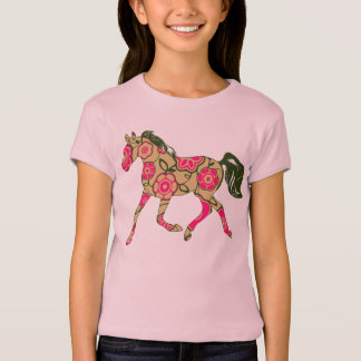 Floral Horse Girls Baby Doll (Fitted) T-Shirt