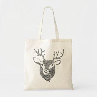 Floral Illustrated Deer Head Bag