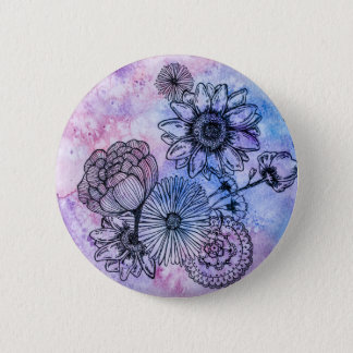 Floral Illustration on Watercolor By Megaflora 2 Inch Round Button