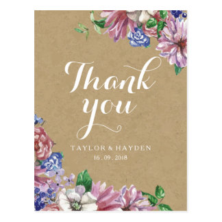 Floral in Love Wedding Thank You Postcard