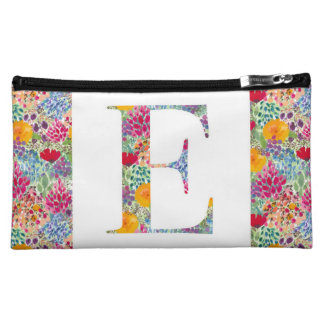 Floral initial make-up bag