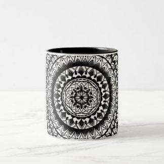 floral Ink Mandala Two-Tone Coffee Mug
