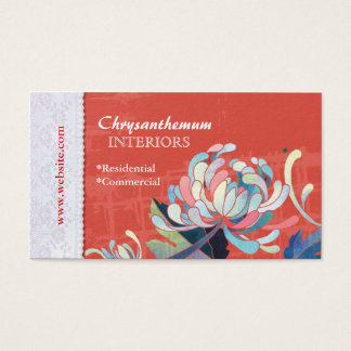 Floral Interior Design Red Custom Business Cards