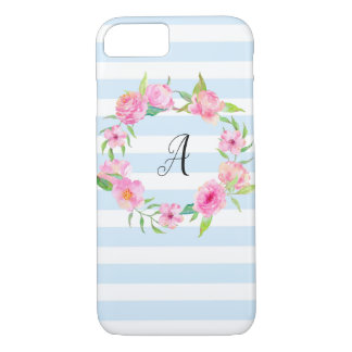 Floral iPhone 8 Case Initial - Blue White Stripe