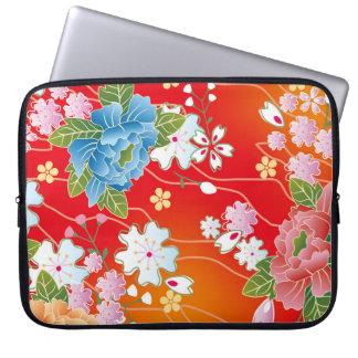 Floral Japanese Vintage Kimono Pattern Laptop Sleeve