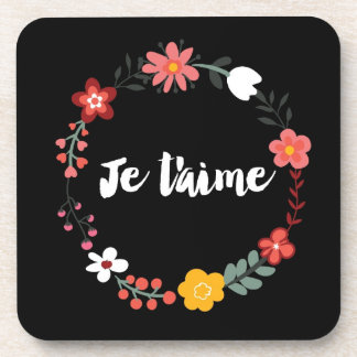 Floral Je t'aime On Black Beverage Coasters
