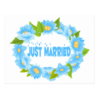 Floral Just Married Blue Turquoise Flower Wedding Postcard