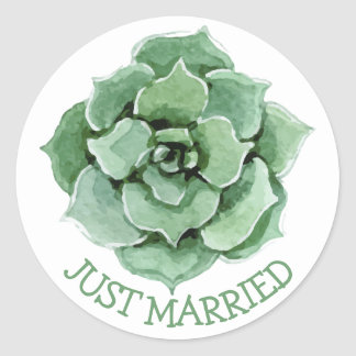 Floral Just Married Green Succulent Cactus Wedding Round Sticker