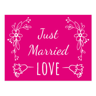 Floral Just Married Hot Pink Flowers Wedding Postcard