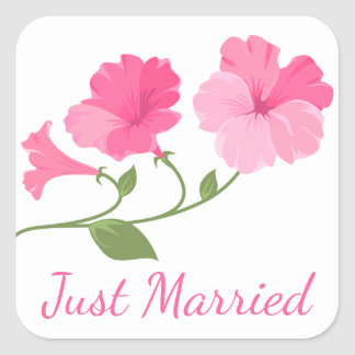 Floral Just Married Pink Fuchsia Flowers Wedding Square Sticker