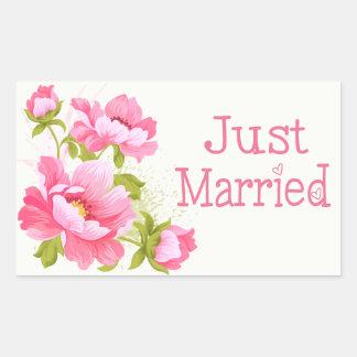 Floral Just Married Pink Peonies Flower Wedding Sticker