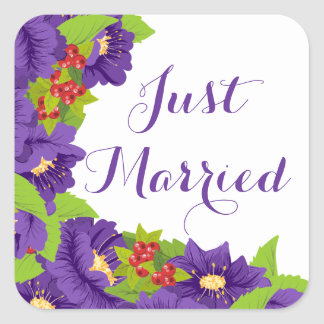 Floral Just Married Purple Flower Wedding Square Sticker