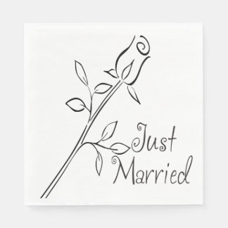 Floral Just Married  Rose Flower Black & White Disposable Napkins