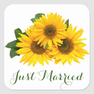 Floral Just Married Sunflower Yellow Green Wedding Square Sticker