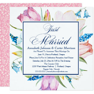 """Floral """"Just Married"""" Wedding Announcement"""