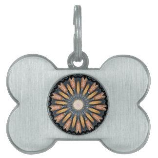 Floral Kaleidoscope Art Mosaic Orange Black White Pet Tag