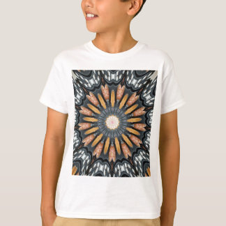 Floral Kaleidoscope Art Mosaic Orange Black White T-Shirt