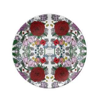 Floral Kaleidoscope Porcelain Plates