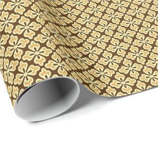 Floral kimono print, caramel and chocolate brown wrapping paper