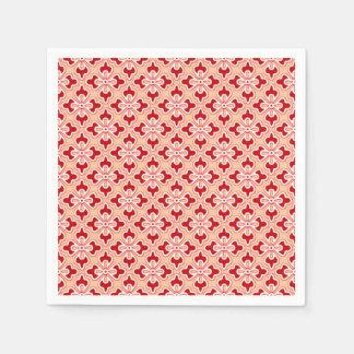 Floral kimono print, dark red and peach napkin