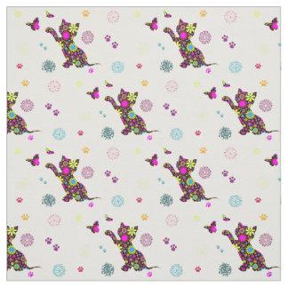 floral kitten fabric