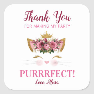 Floral Kitty Thank You Stickers | Gold Crown