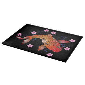 Floral koi carp cutting board