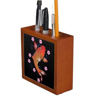 Floral koi carp desk organizer