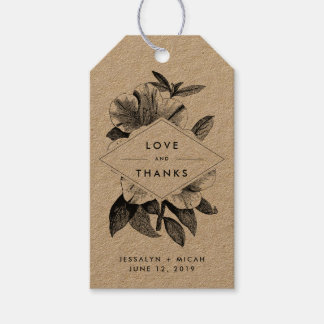 Floral Kraft Wedding Favor Thank You Gift Tags