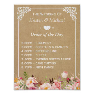 Floral Kraft Wedding Sign for Order of the Day