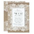 Floral Lace and Burlap Elegant Bridal Shower Card