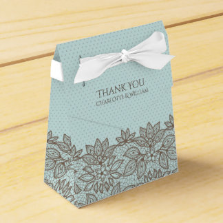 Floral Lace and Polka Dots Favor Gift Box