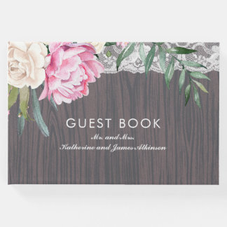 Floral Lace and Rustic Wood Wedding Guest Book