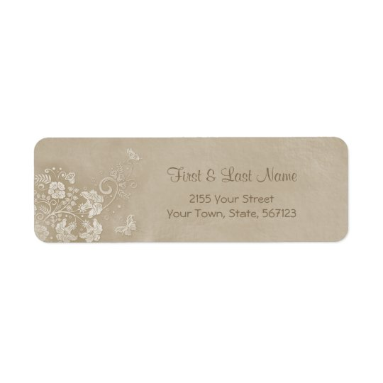 Floral Lace Butterfly Wedding Return Address Label