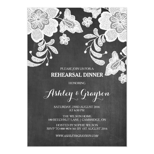 Floral Lace Chalkboard Rehearsal Dinner Invitation