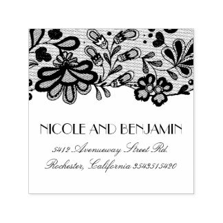 Floral Lace Elegant Wedding Self-inking Stamp