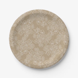 Floral Lace Kraft Custom Party 7 Inch Paper Plate