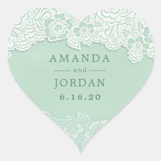 Floral Lace Mint Green Wedding Heart Sticker