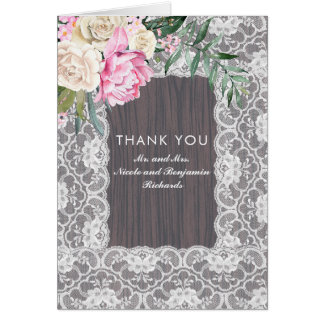 Floral Lace Rustic and Vintage Thank You Card