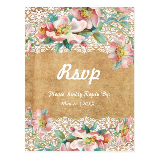 Floral lace with personalized background postcard
