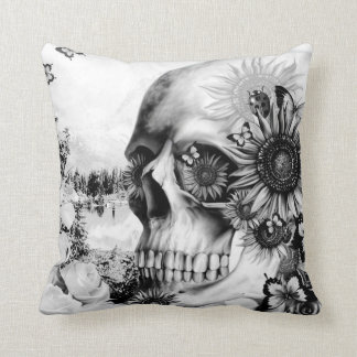 Floral landscape skull throw pillow