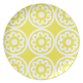 Floral Lattice Lemon Dinner Plates