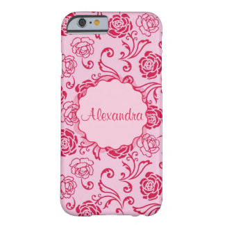 Floral lattice pattern of tea roses on pink name barely there iPhone 6 case