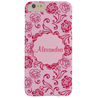 Floral lattice pattern of tea roses on pink name barely there iPhone 6 plus case