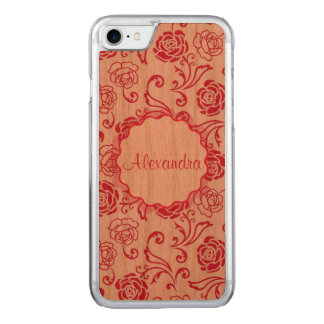 Floral lattice pattern of tea roses on pink name carved iPhone 8/7 case