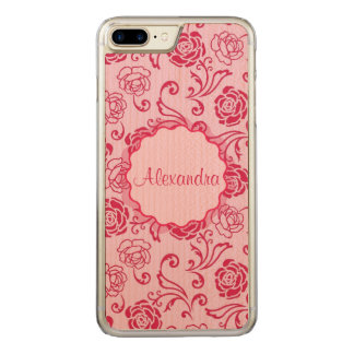 Floral lattice pattern of tea roses on pink name carved iPhone 8 plus/7 plus case